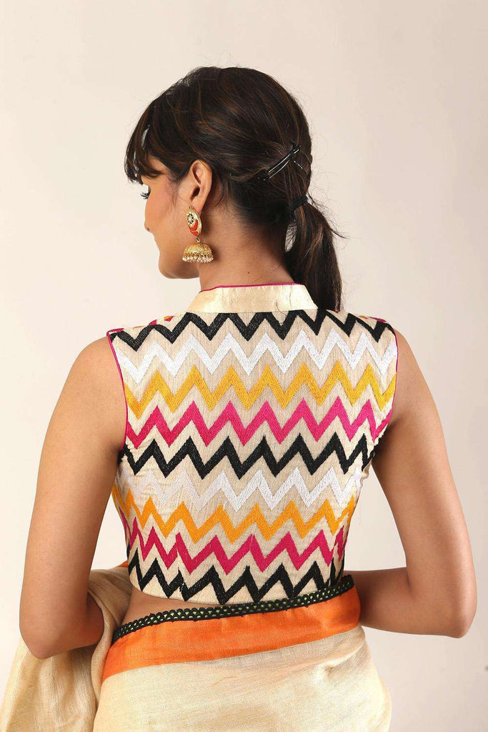 Cream and multicolour chevron threadwork chinese collar blouse - House of Blouse