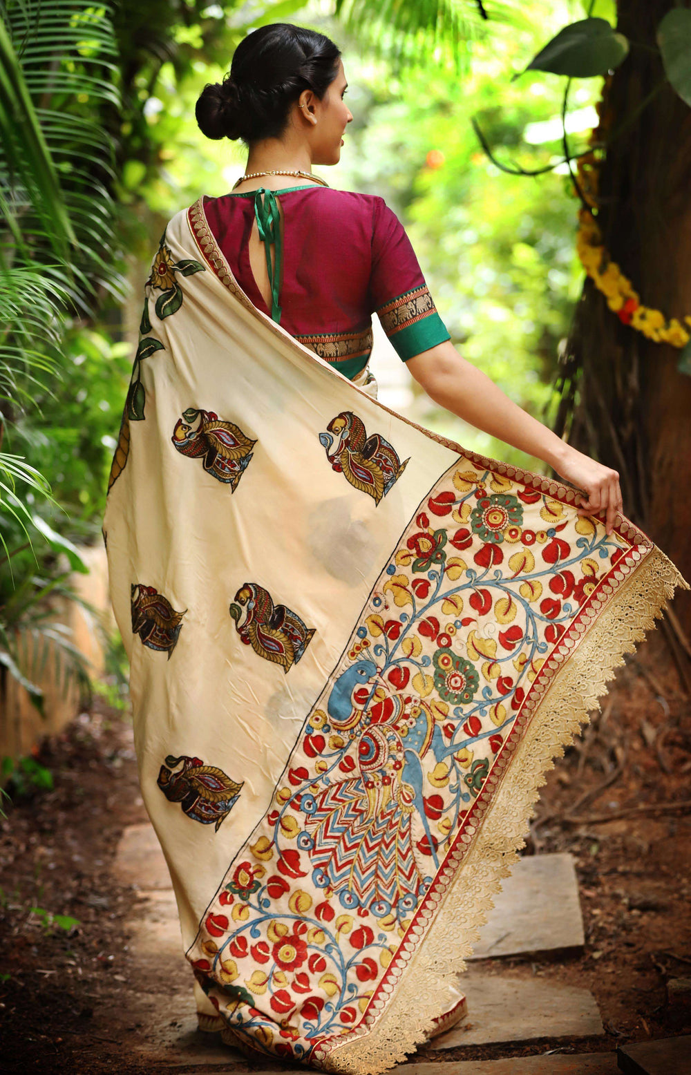 Cream pure crepe saree with handpainted Kalamkari appliqués - House of Blouse
