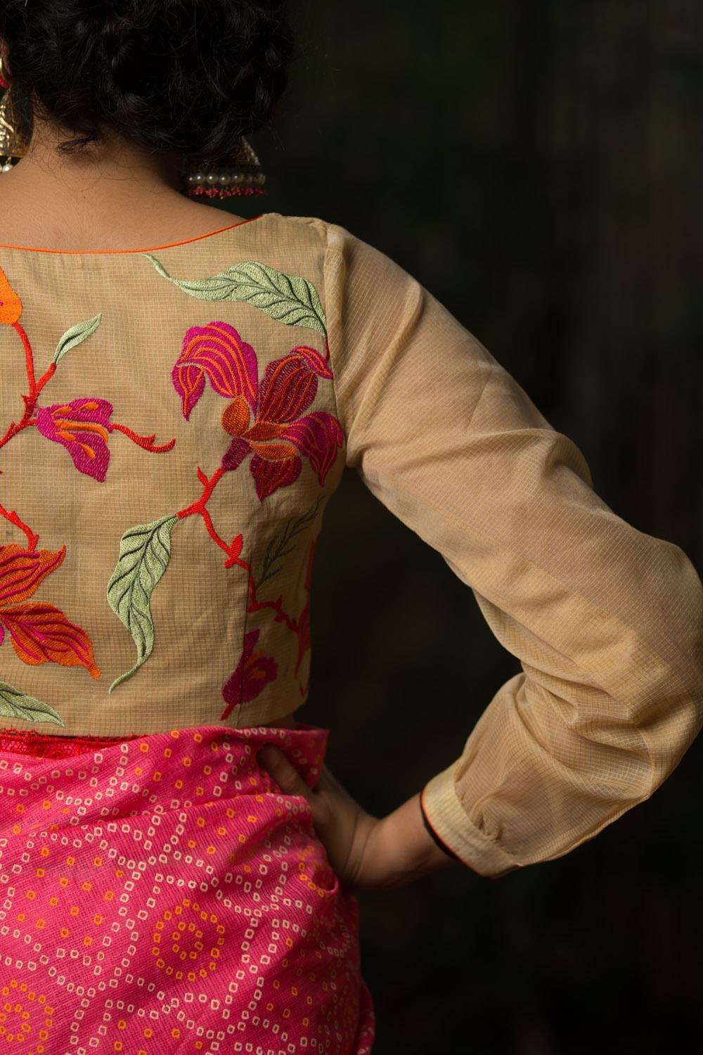 Cream silk kota blouse with emboidered back and gathered sleeves - House of Blouse