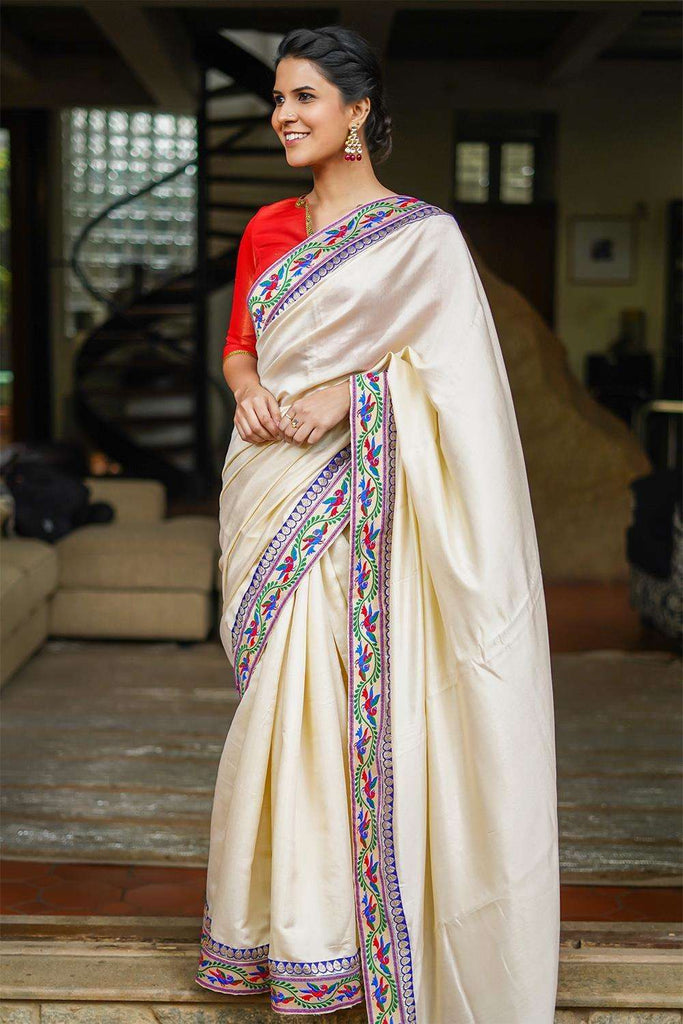Cream soft satin saree with Banaras threadwork and Royal blue zari border - House of Blouse