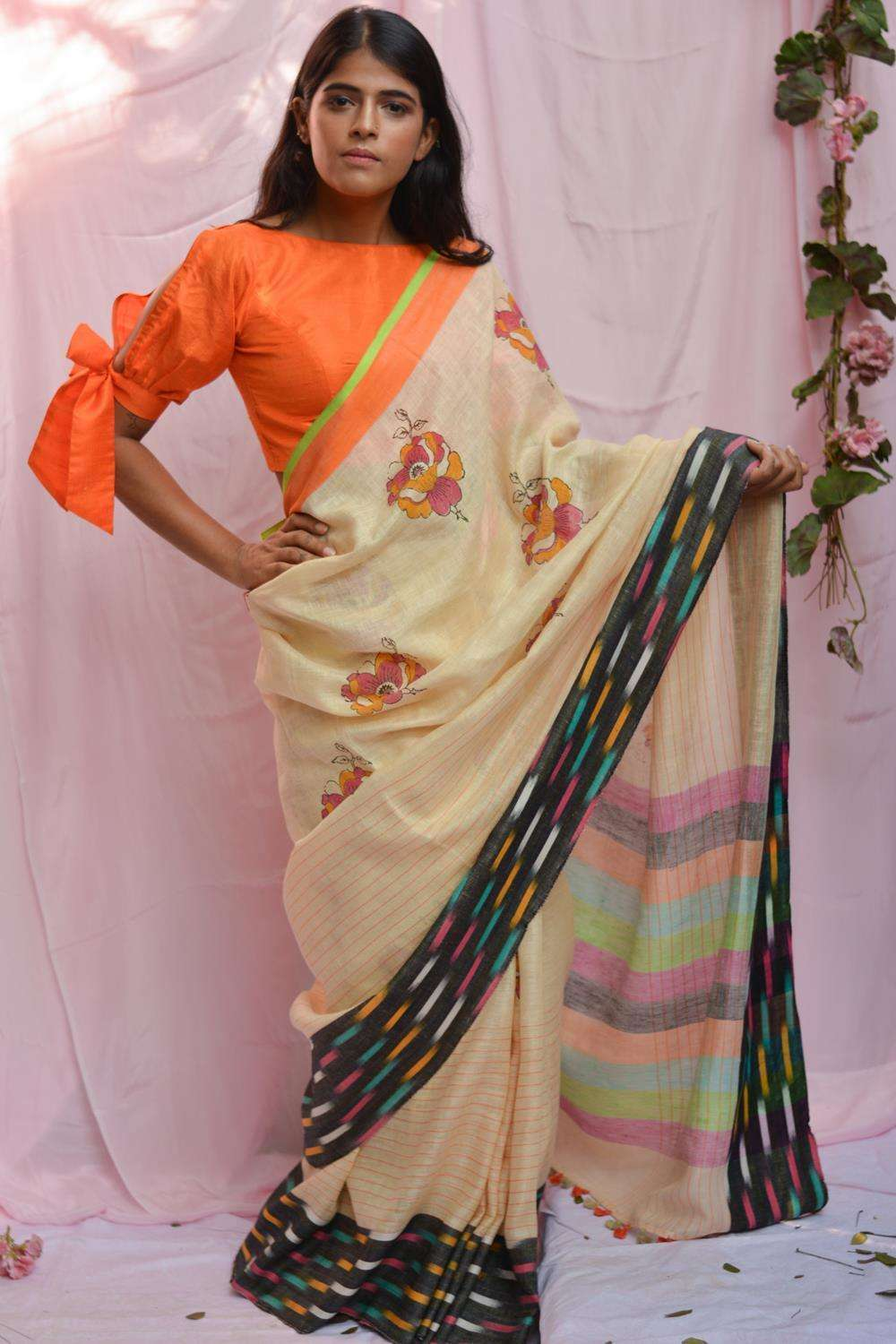 Cream striped linen saree with block print and multicolour Ikat border - House of Blouse
