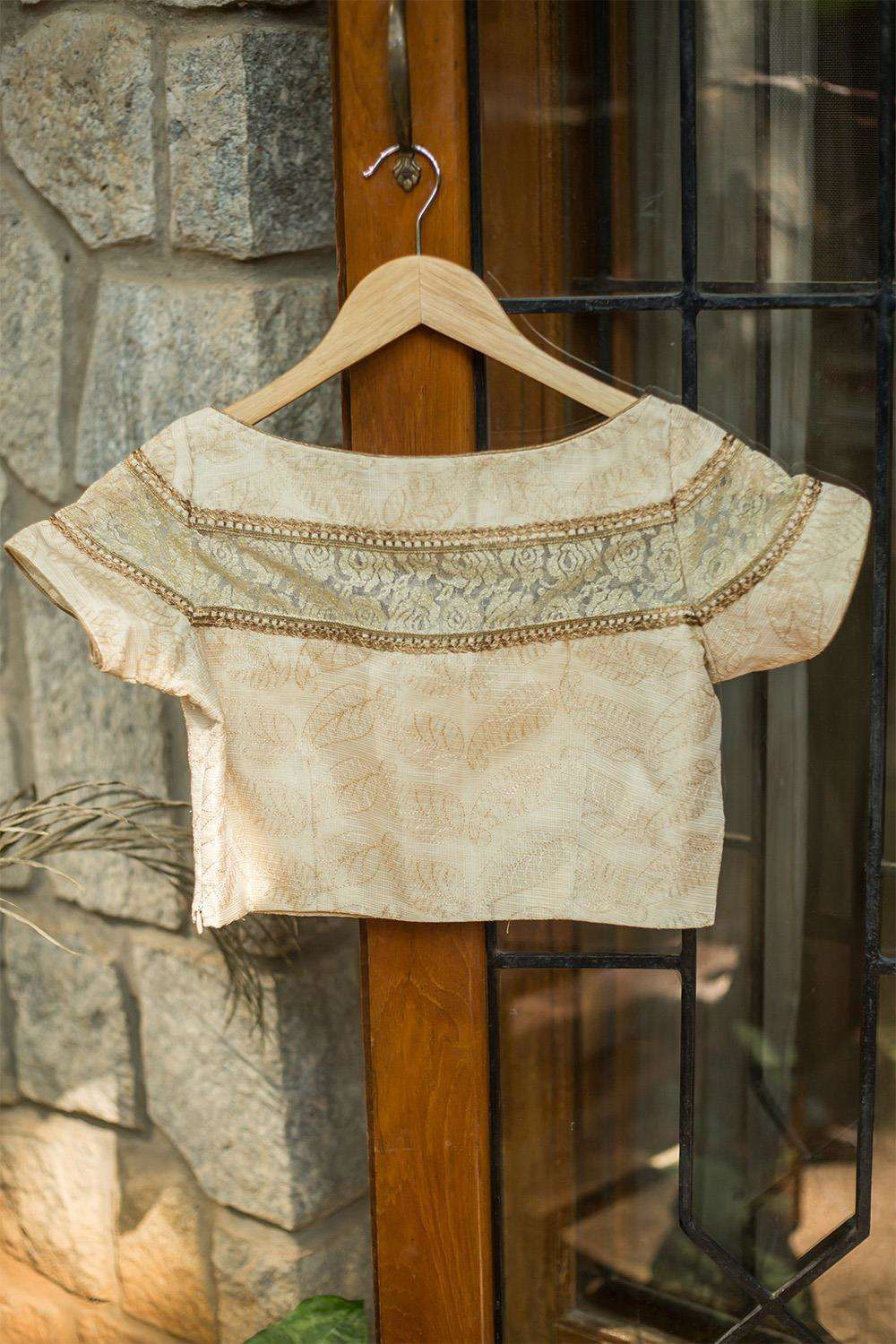 Cream threadwork on tissue Kota sheer yoke blouse - House of Blouse