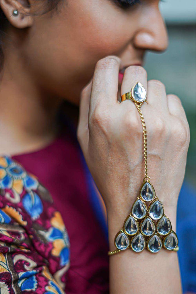 Crystal Kundan Hathphool Ring Barcelet - House of Blouse