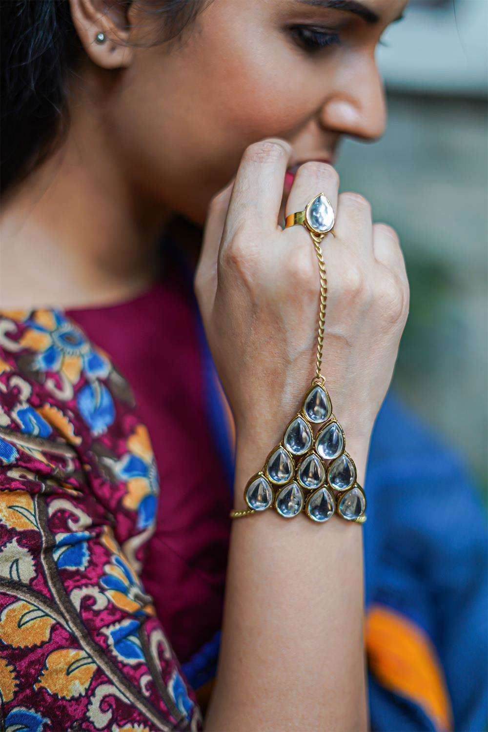 Crystal Kundan Hathphool Ring Barcelet