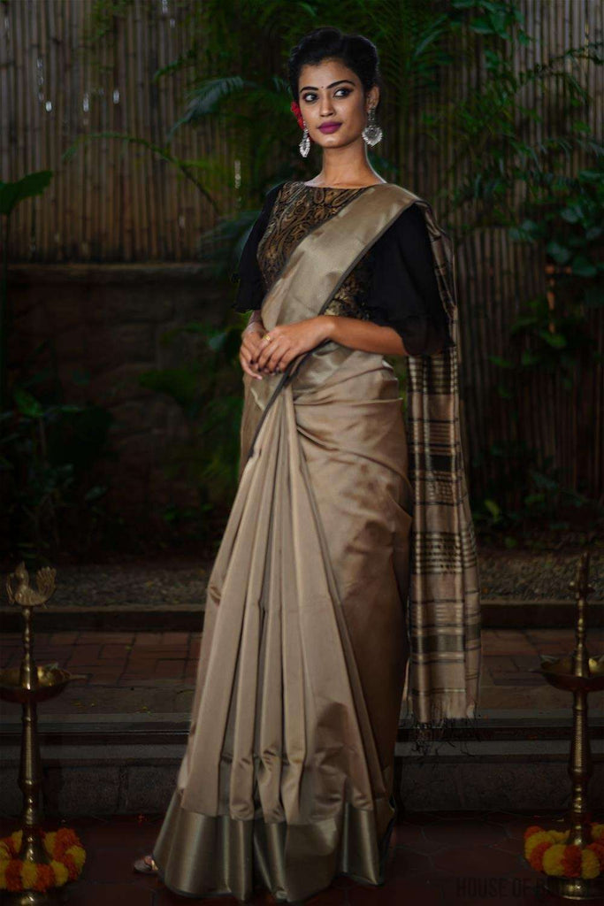 Dark beige Maheshwari silk cotton saree with silverish thread border