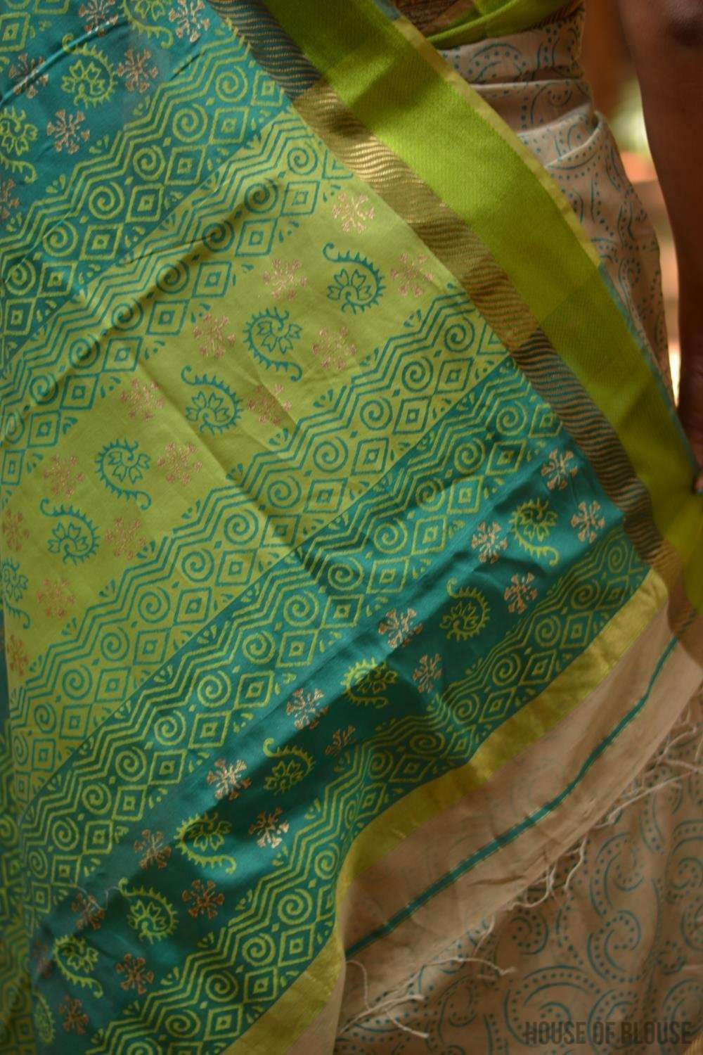 Dark beige Maheshwari silk saree with blue and gold block print, zari and ganga jamuna border - House of Blouse