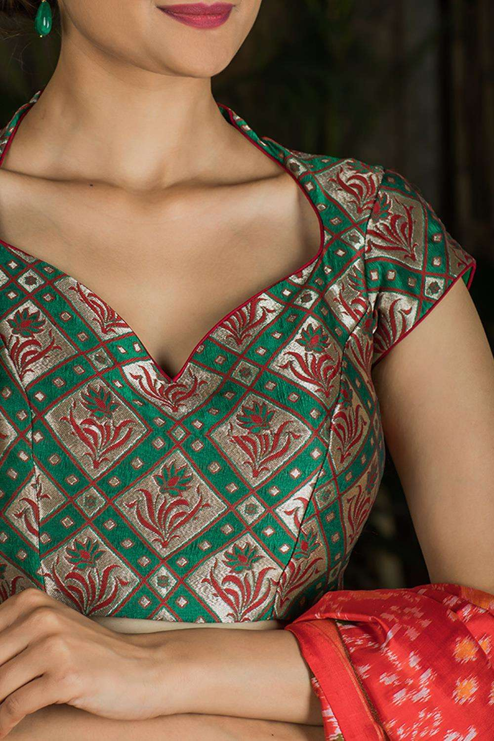 Dark green brocade sweetheart neck blouse