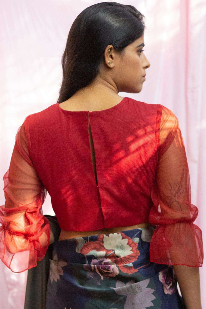 Deep red net blouse with puff sleeves - House of Blouse