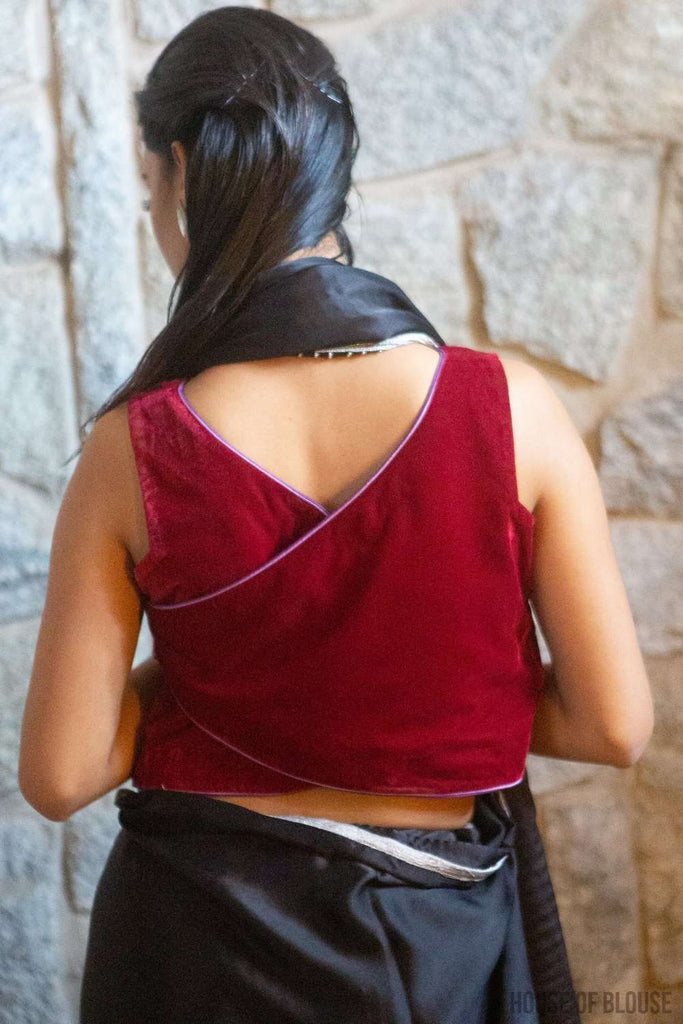 Deep Red velvet sleeveless crop top with double piping