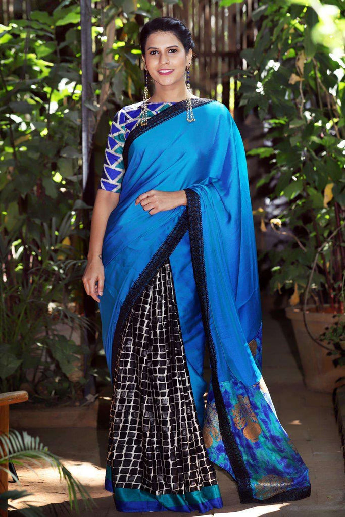 Double shaded blue satin georgette printed soft cotton half and half saree - House of Blouse