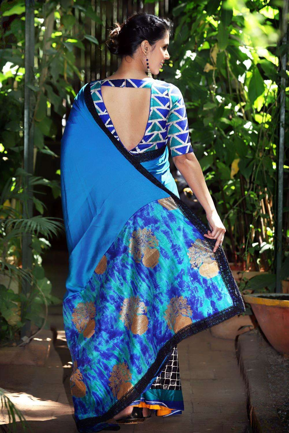 Double shaded blue satin georgette printed soft cotton half and half saree