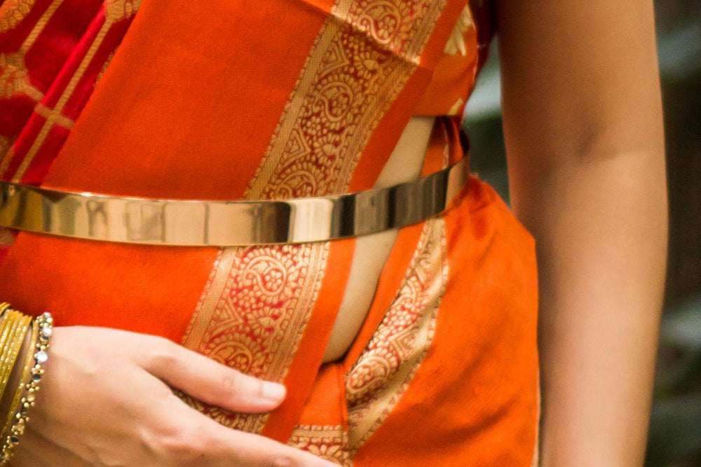 Dull gold plated metal waist belt - House of Blouse