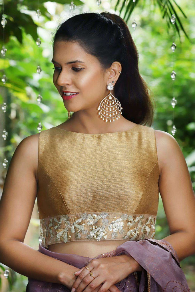 Dull gold shimmer georgette boatneck sleevless blouse - House of Blouse