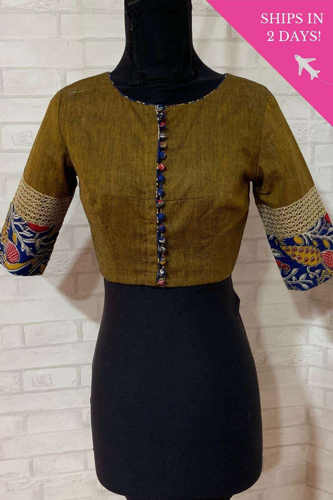 Dull olive khadi blouse with gold and kalamkari border; Size: 34 - House of Blouse