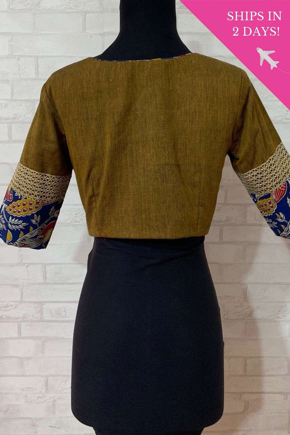 Dull olive khadi blouse with gold and kalamkari border; Size: 34