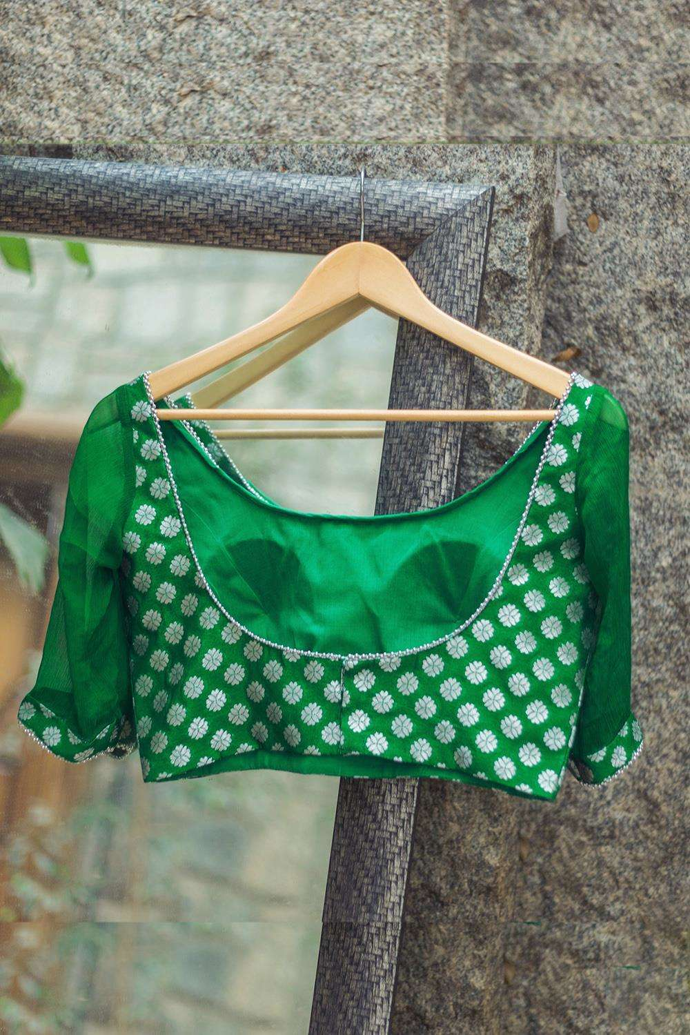 Emerald green brocade blouse with sheer chiffon sleeves