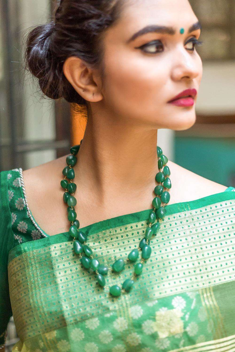 Emerald Green natural Stones Double Line Necklace - House of Blouse
