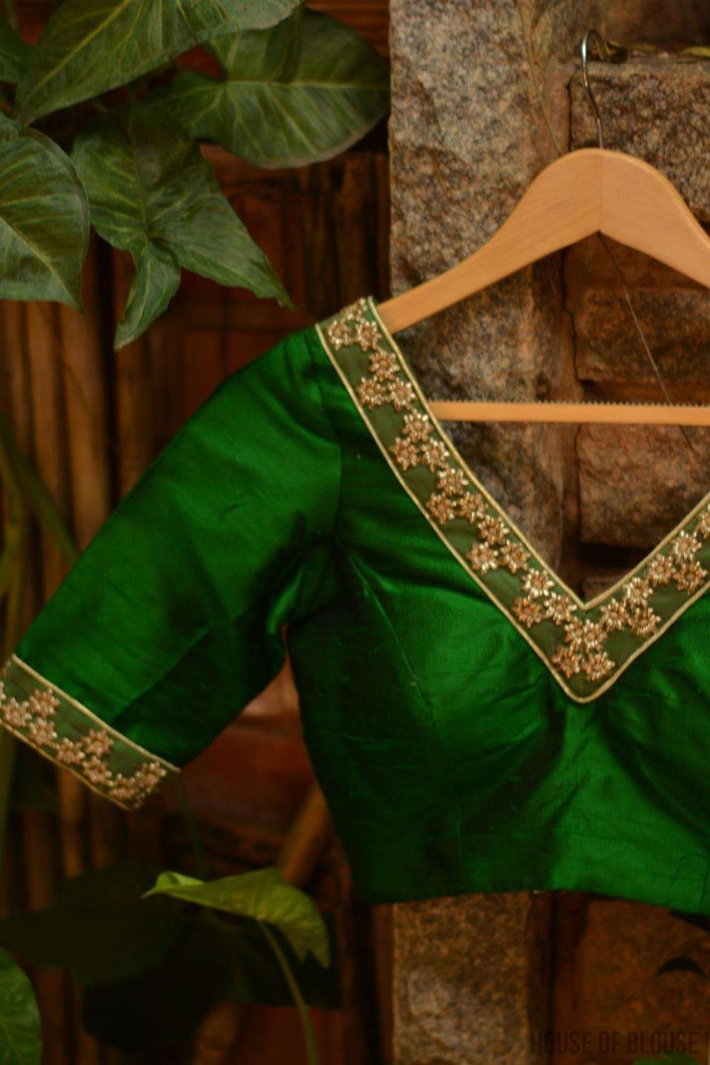 Emerald green raw silk V-neck blouse with gold floral border - House of Blouse