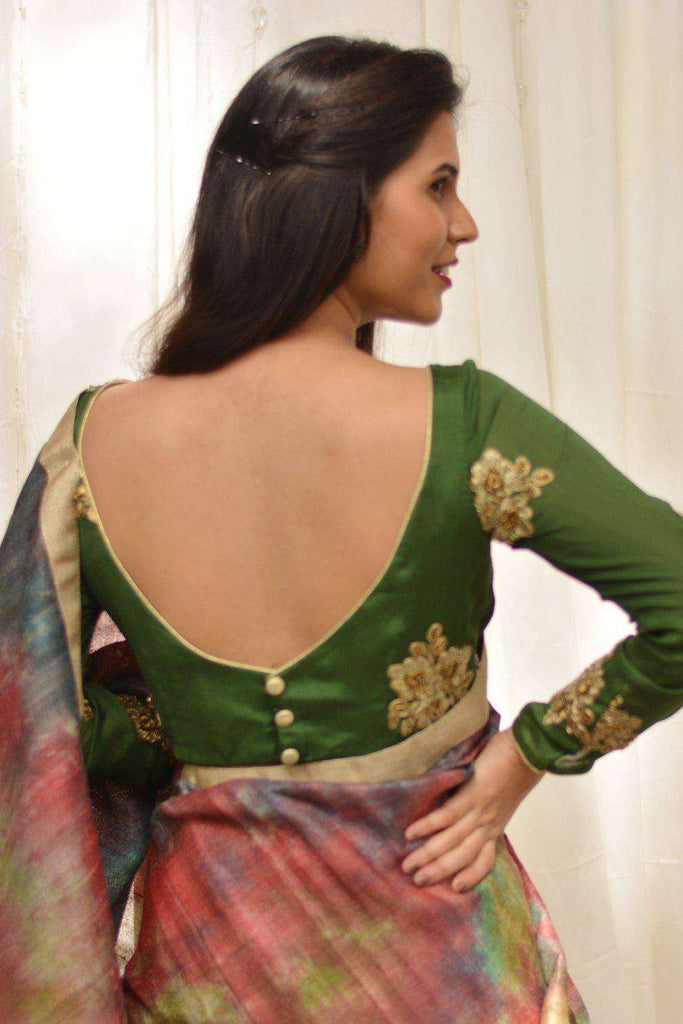 Forest green embroidered chinon crepe boatneck blouse - House of Blouse