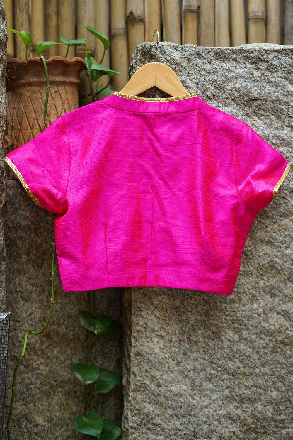 Fuchsia pink raw silk hi neck blouse with gold lace detailing - House of Blouse