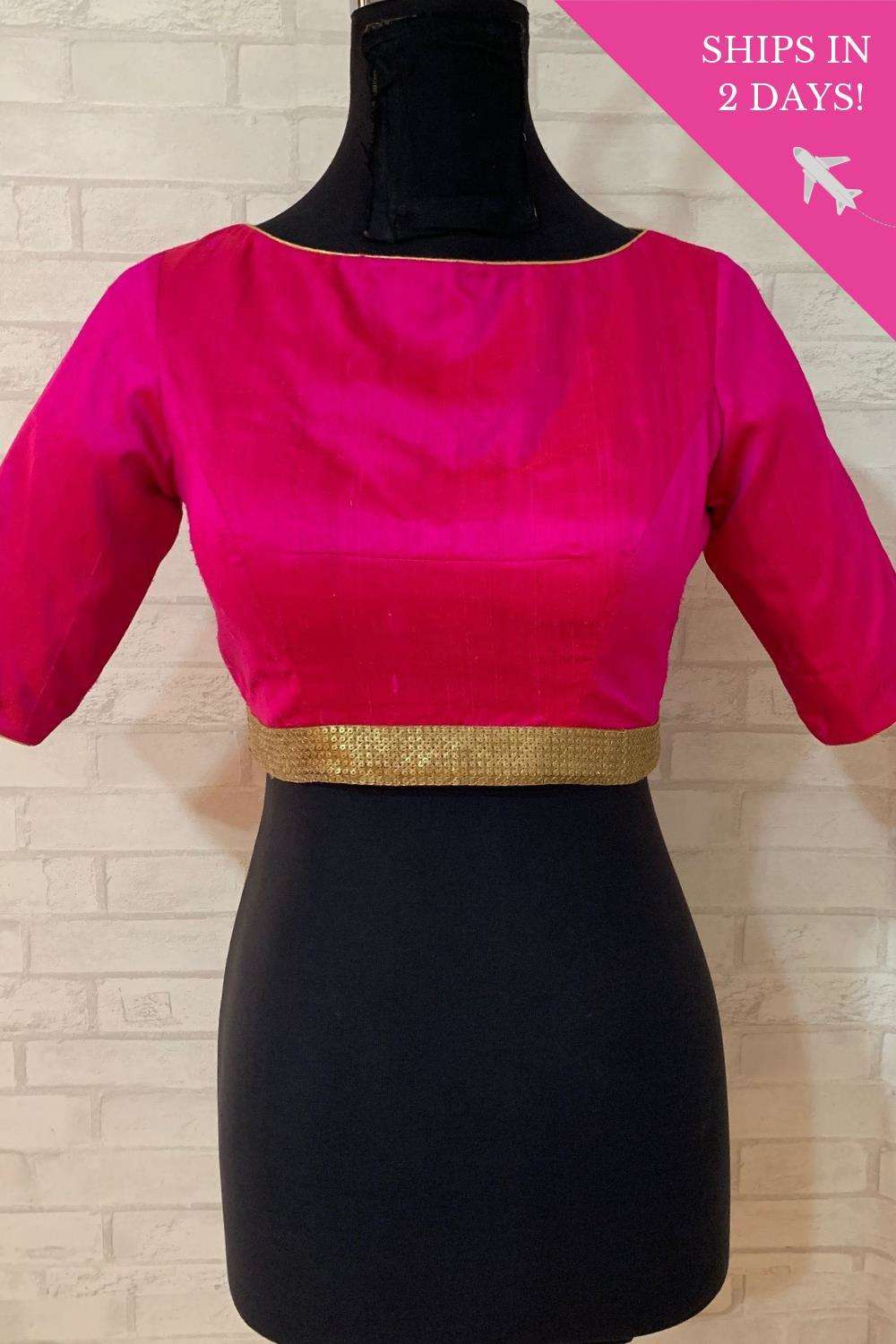 Fuchsia raw silk boatneck blouse with gold sequin border; Size: 38 - House of Blouse