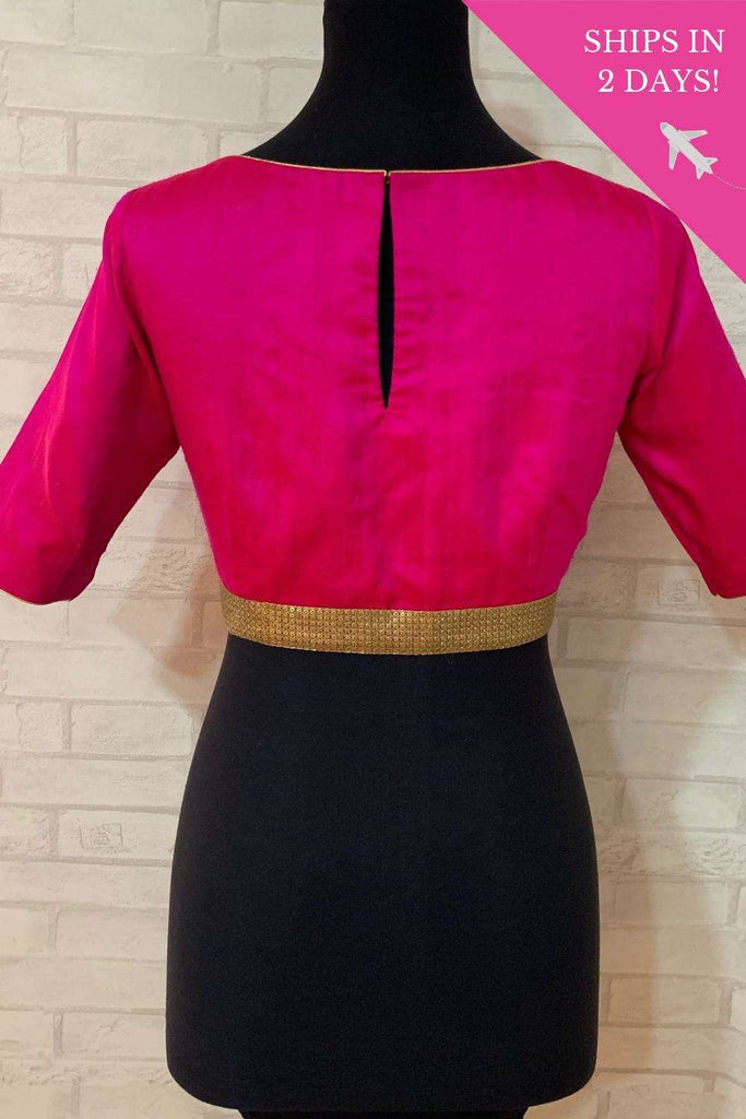 Fuchsia raw silk boatneck blouse with gold sequin border; Size: 38