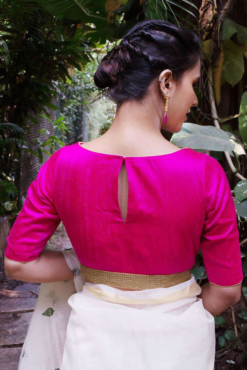 Fuchsia raw silk boatneck blouse with gold sequin border