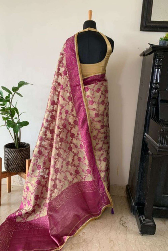 Gold and purple tissue saree with floral weave and gold sequin edging - House of Blouse