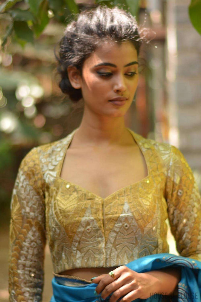 Gold and silver threadwork blouse with sweetheart neck
