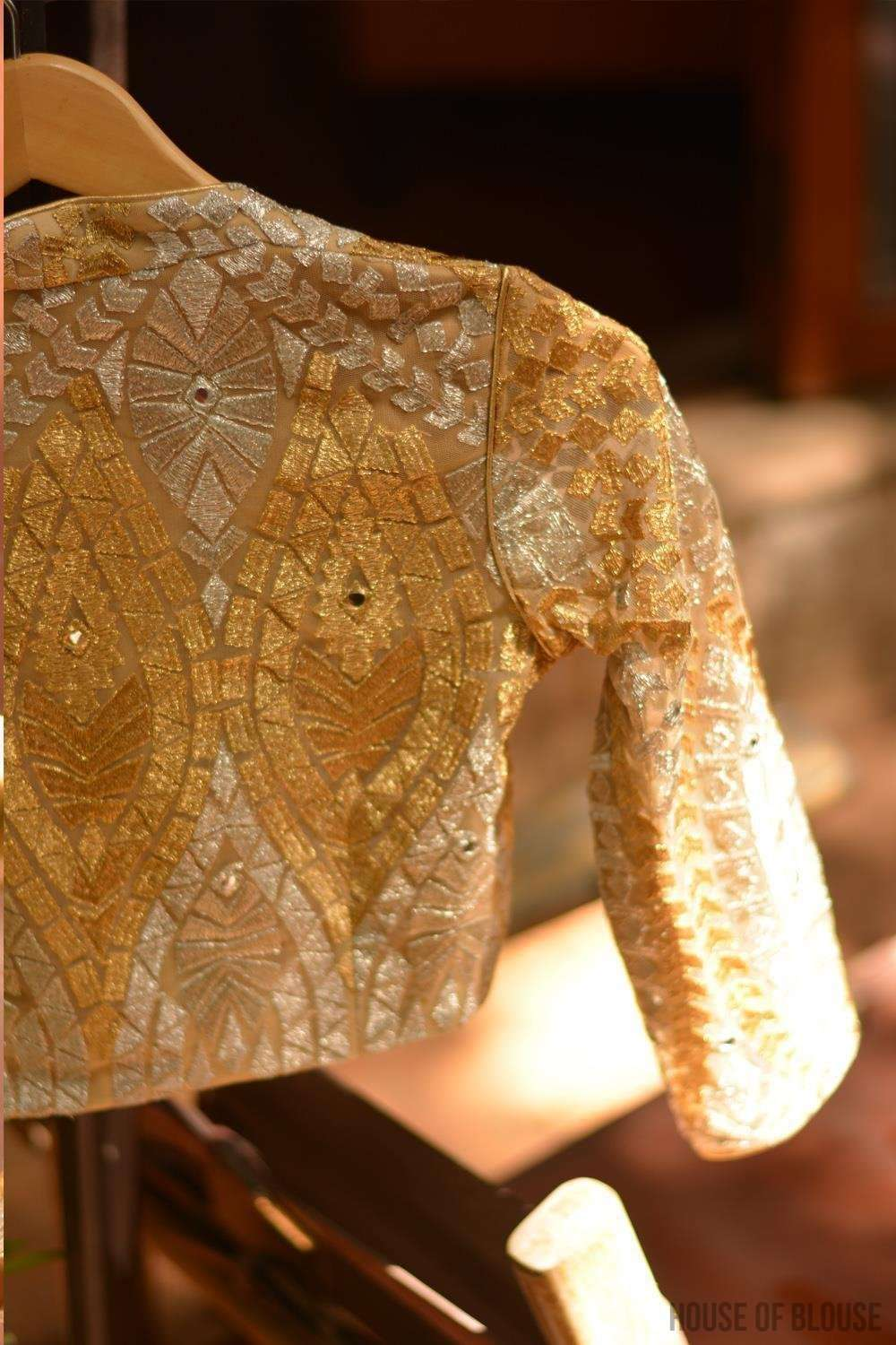 Gold and silver threadwork blouse with sweetheart neck - House of Blouse