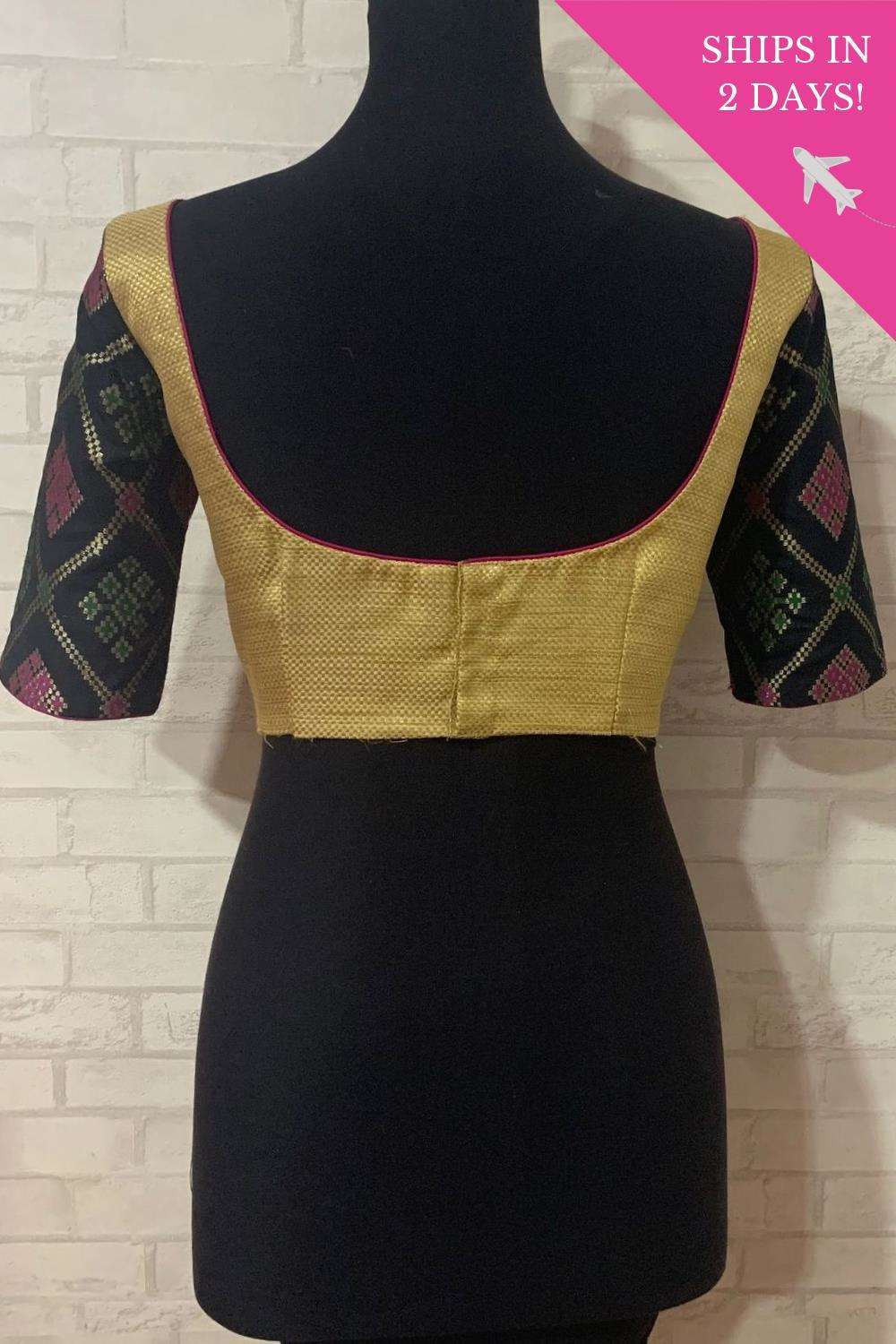 Gold brocade blouse with black brocade sleeves; Size: 40 - House of Blouse