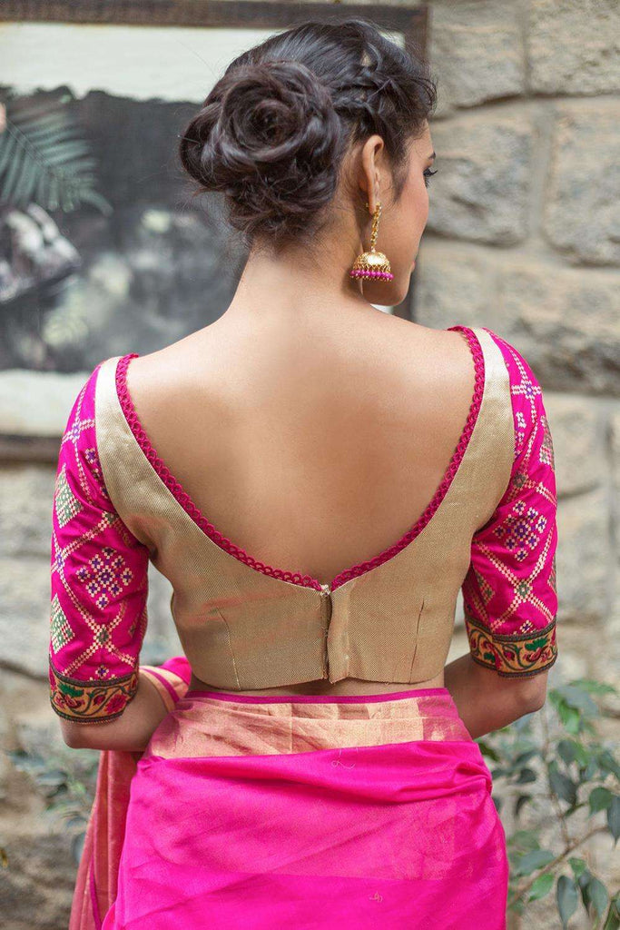 Gold brocade blouse with pink brocade sleeves - House of Blouse