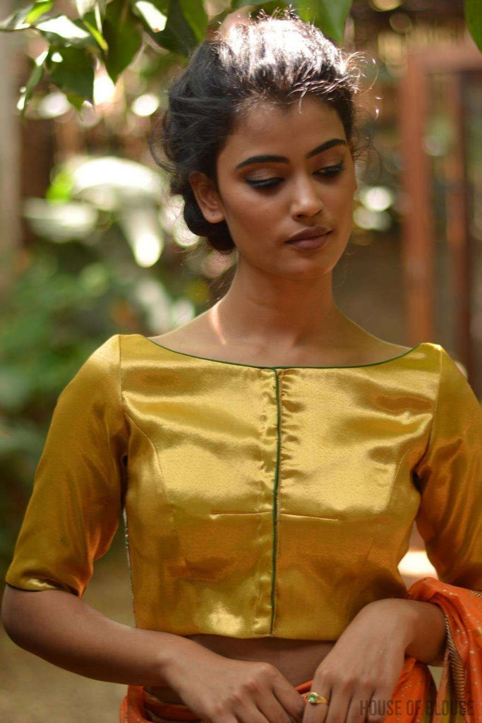 Gold brocade boatneck blouse with back detailing - House of Blouse