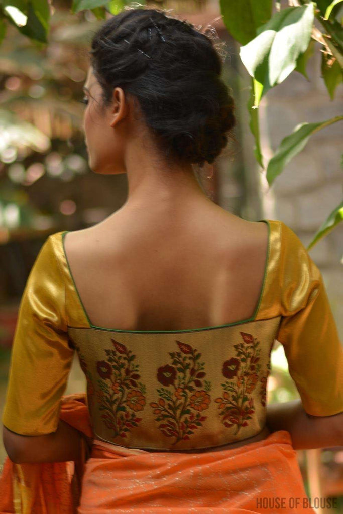 Gold brocade boatneck blouse with back detailing