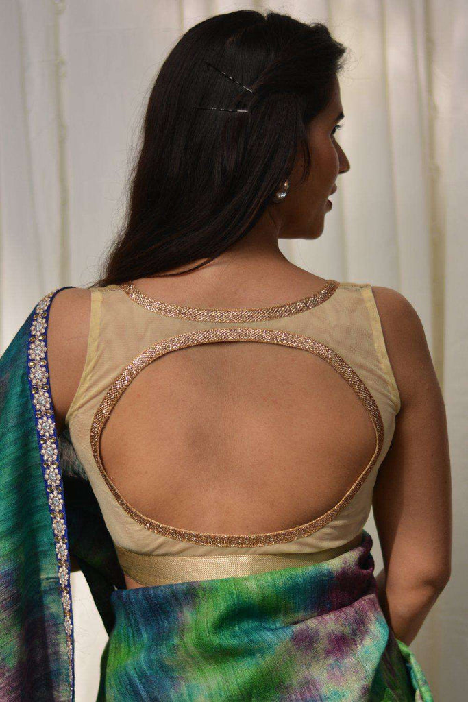 Gold brocade sweetheart neck blouse with sheer back