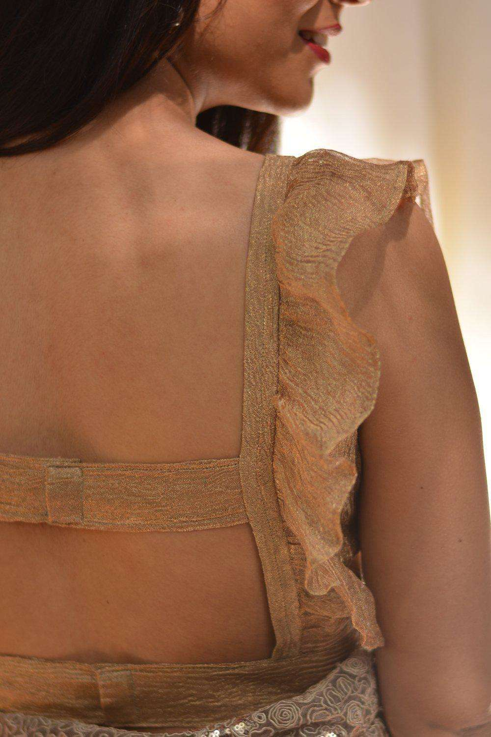 Gold crushed tissue square neck blouse with frill detailing