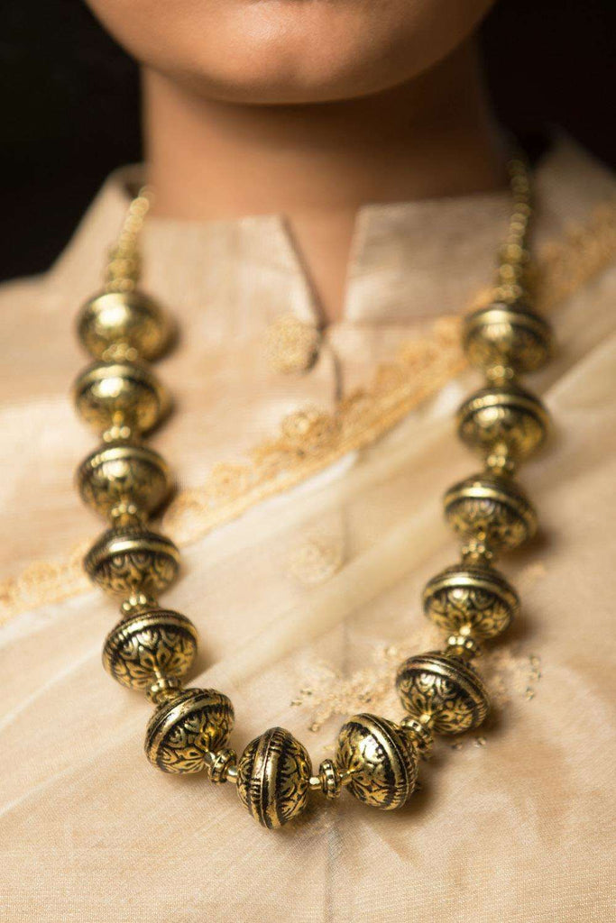 Gold Drum Necklace - House of Blouse