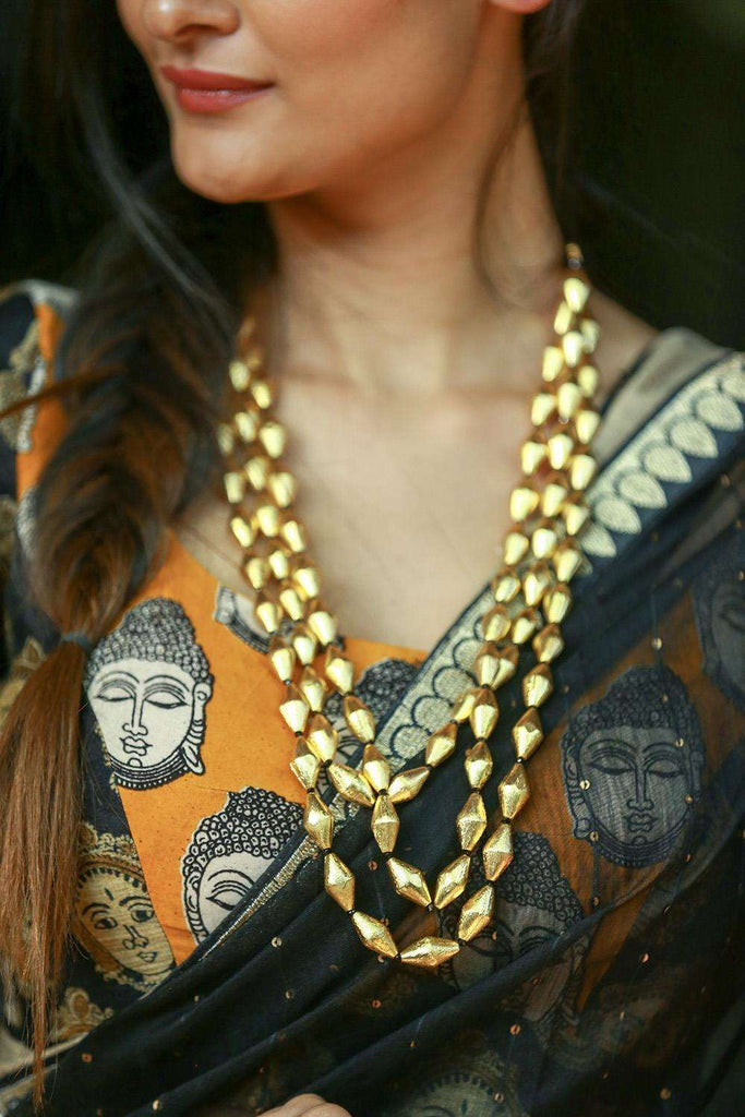 Gold Elaichi Beads Multistrand Necklace - House of Blouse