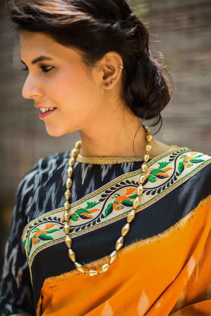 Gold Elaichi Mala Necklace - House of Blouse