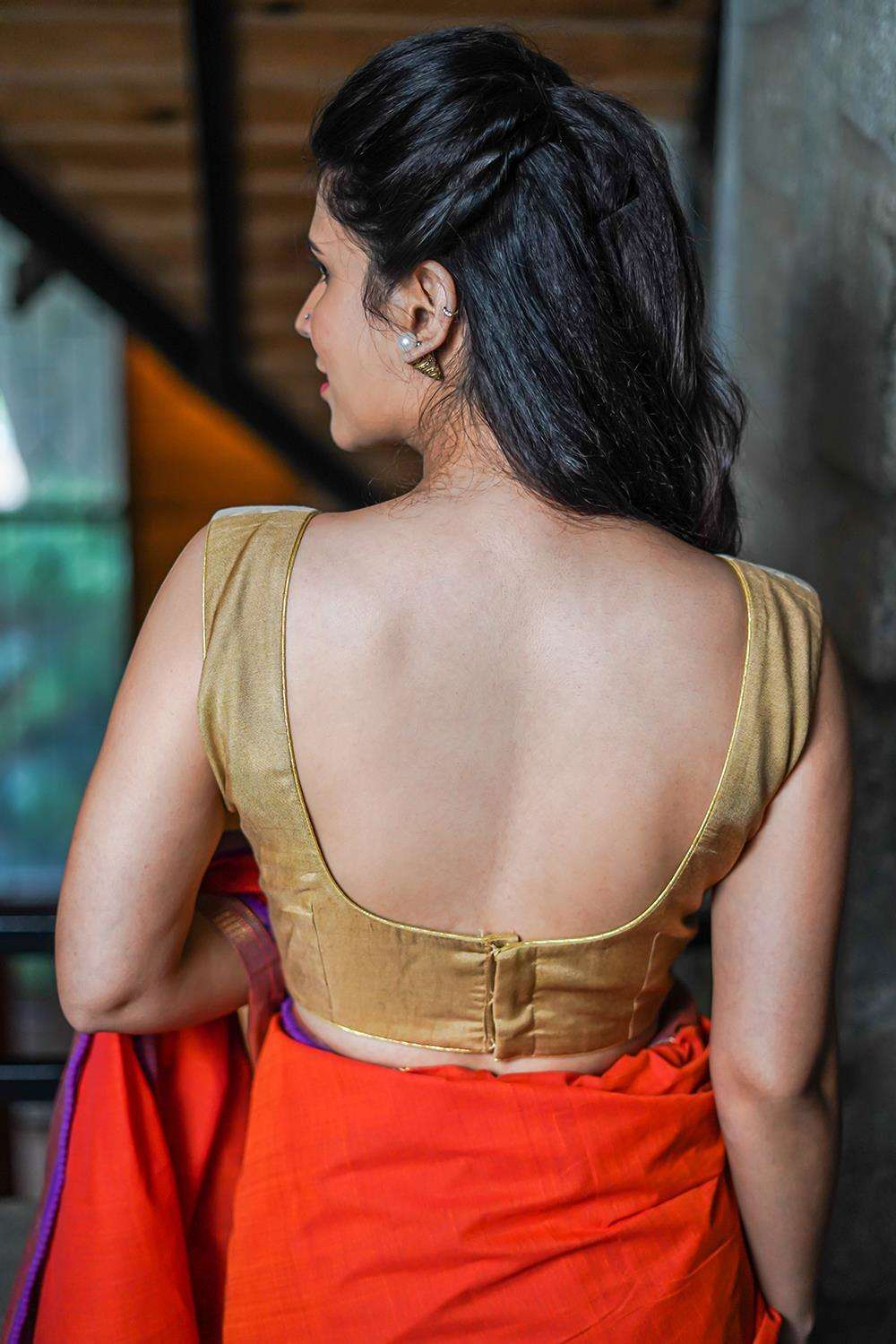 Gold embossed tissue and beige cotton silk bustier style sleeveless blouse - House of Blouse