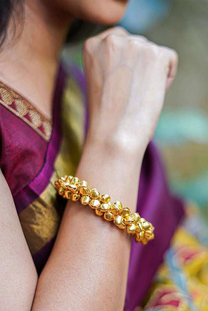 Gold Ghungroo Bangles - House of Blouse