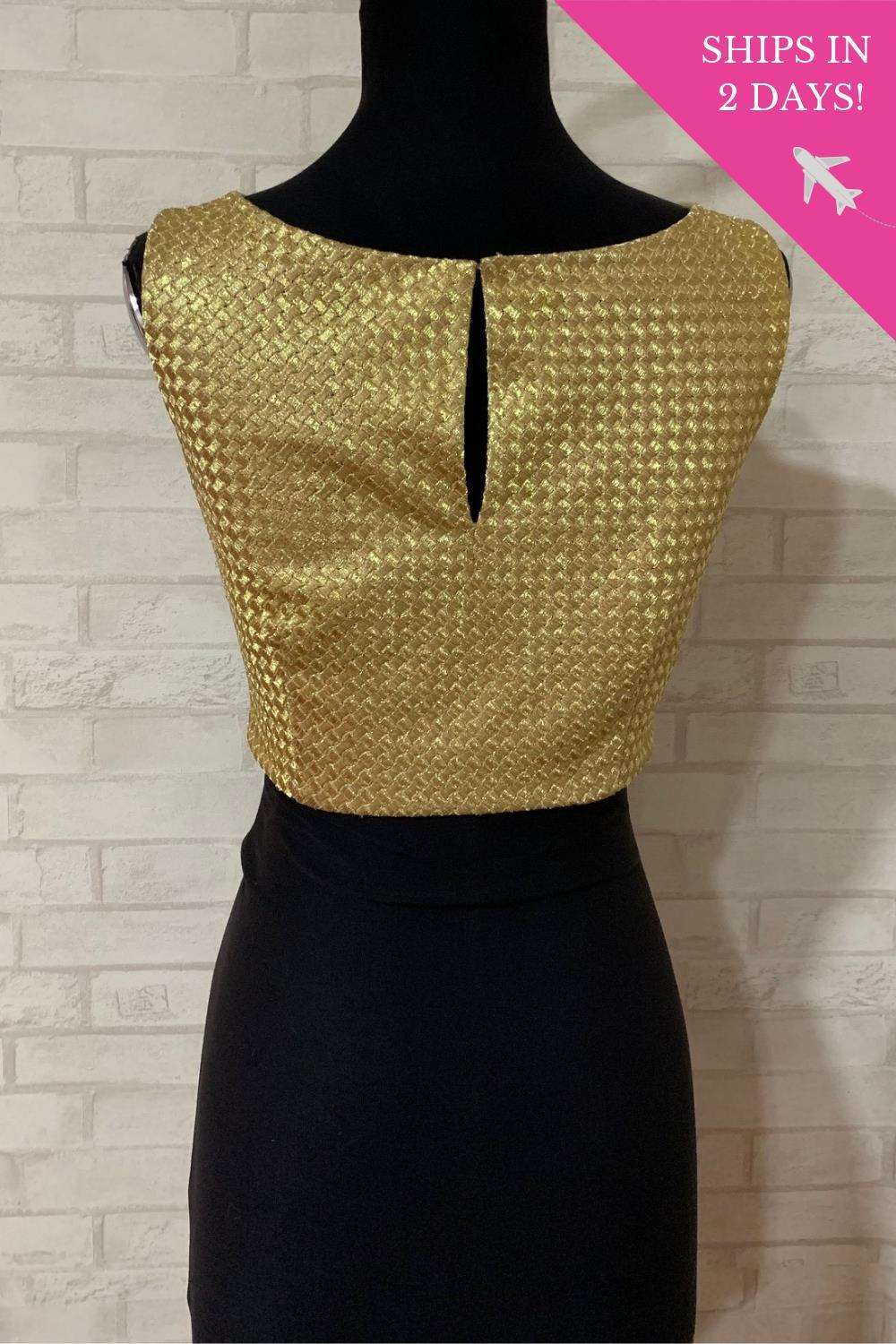 Gold mesh boatneck blouse; Size: 34
