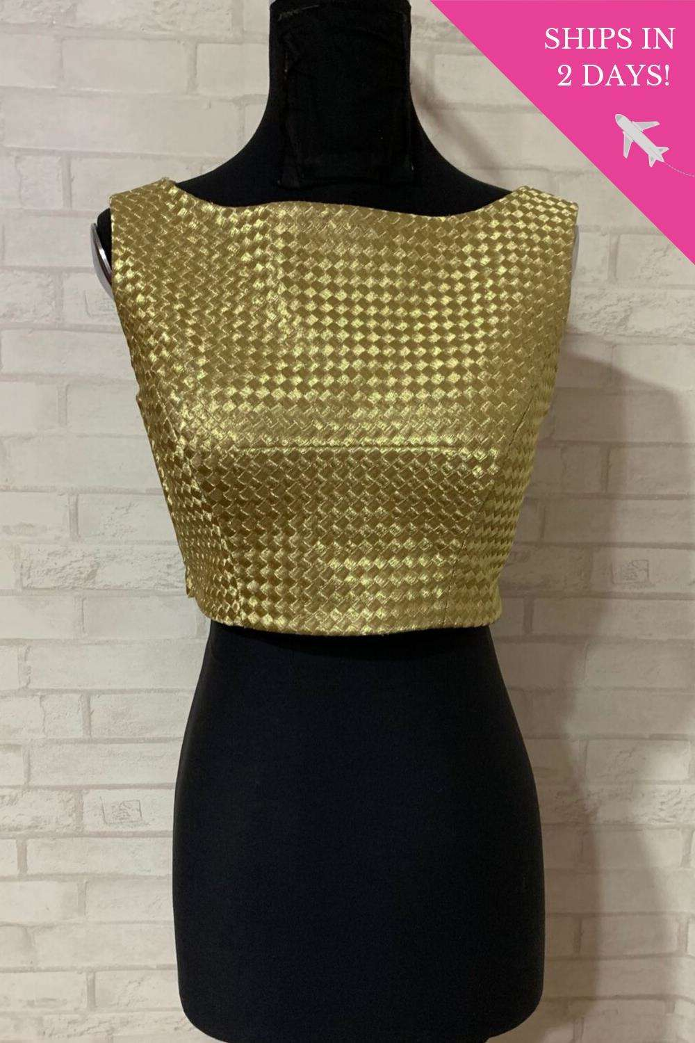 Gold mesh boatneck blouse; Size: 34 - House of Blouse