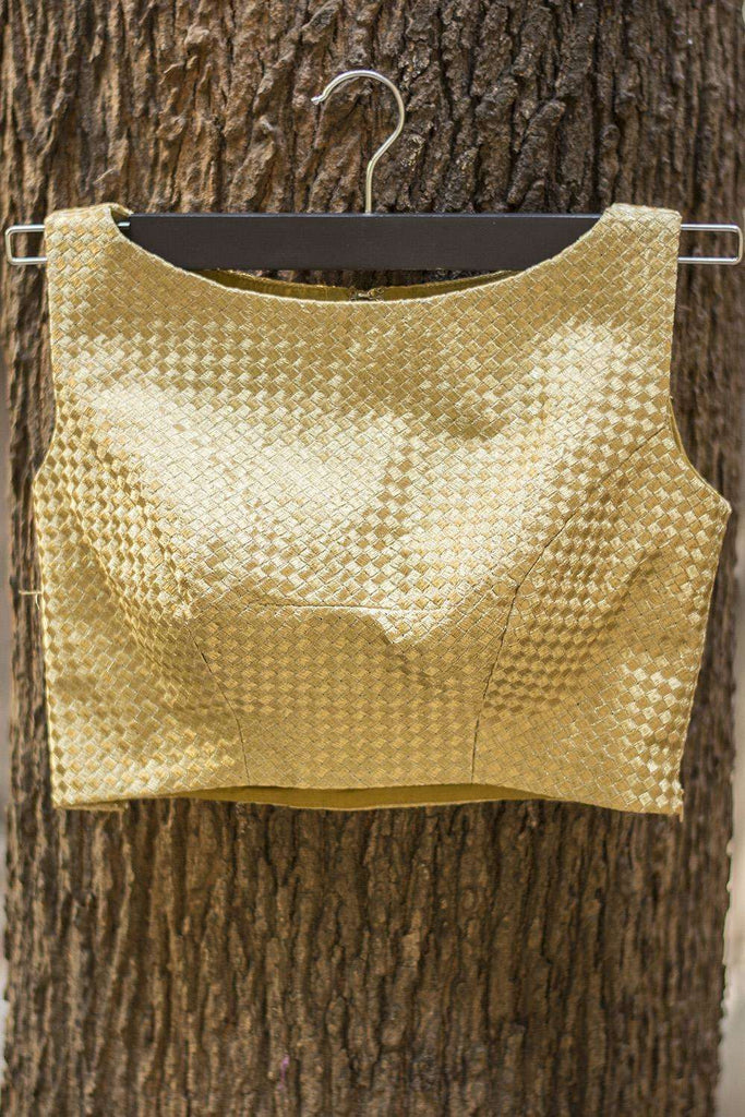 Gold mesh boatneck blouse - House of Blouse