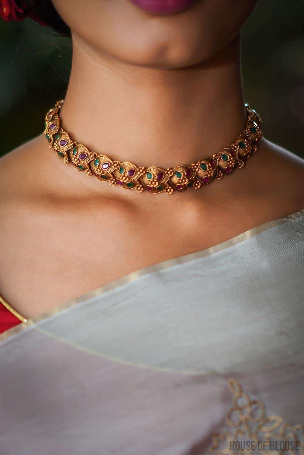 Gold plated floral Temple work Choker Necklace - House of Blouse