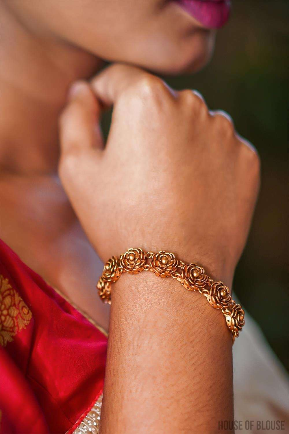 Gold plated temple work Bracelet