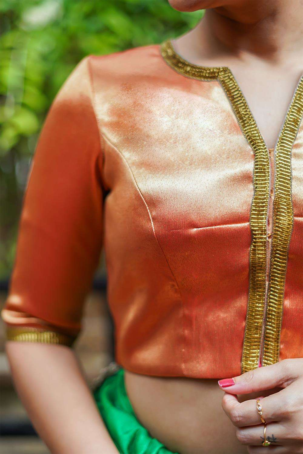 Gold-red tissue brocade blouse with gota lace detailing - House of Blouse