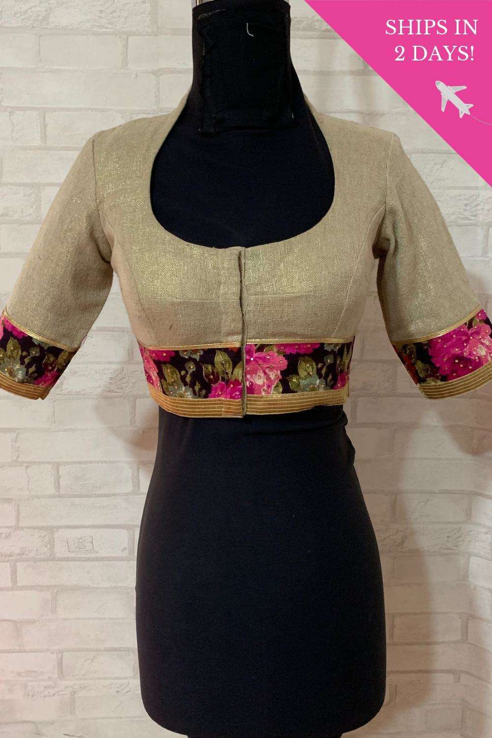 Gold shimmer jute Pot neck blouse with floral border; Size: 34 - House of Blouse