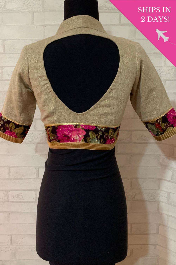 Gold shimmer jute Pot neck blouse with floral border; Size: 34