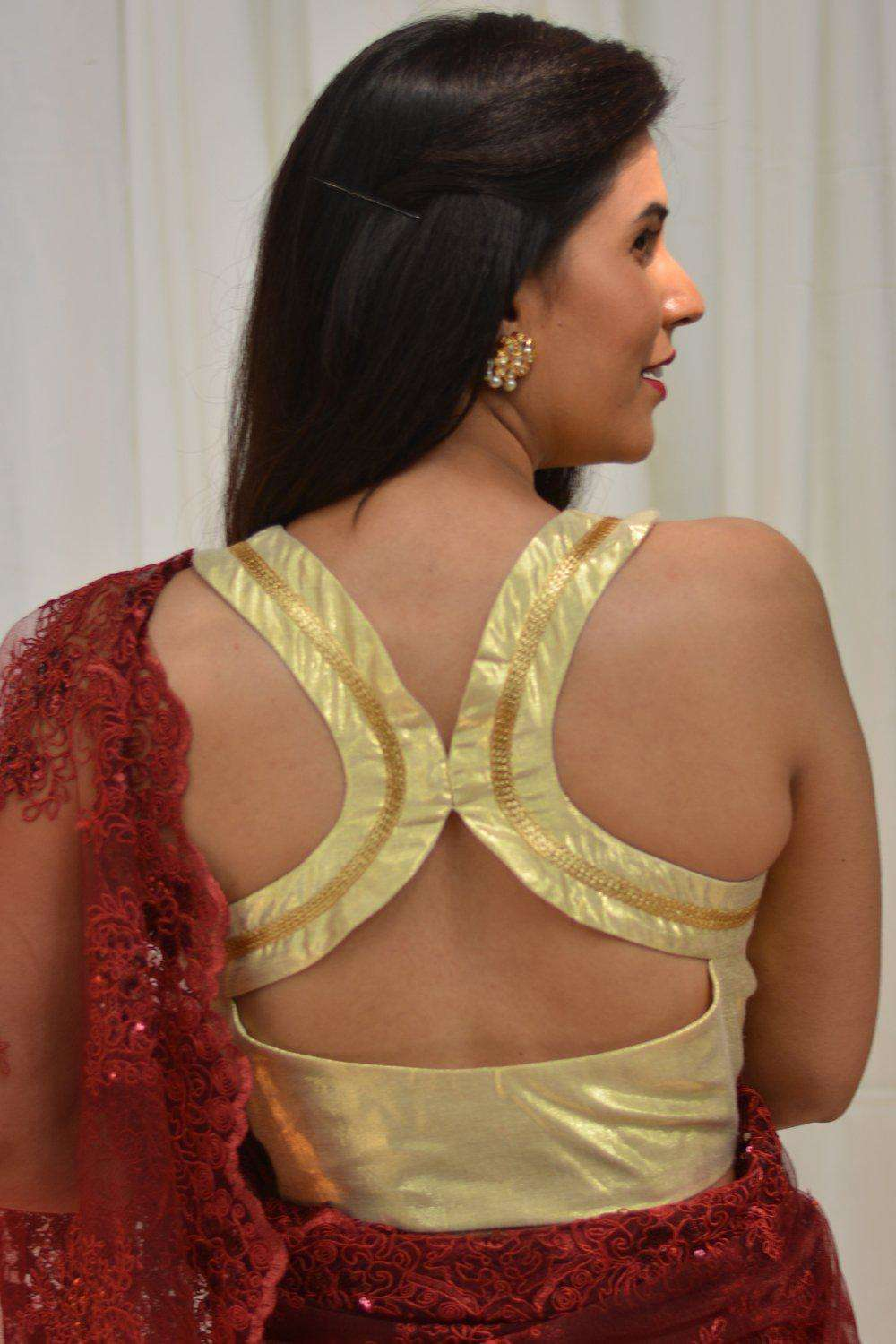 Gold shimmer racerback blouse - House of Blouse